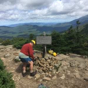 Working on Branch 3 - Crawford Path Project August 2018 with White Mtn Trail Collective